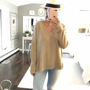 Eileen Fisher 100% cashmere side zip sweater large